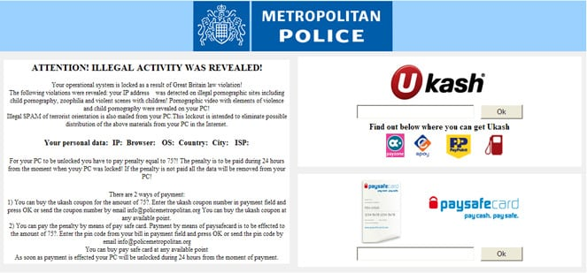 The Police Scam Virus Spyware